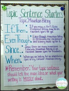 Sentences Great anchor chart for teaching students to write topic sentences. Thanks Teaching with a Mountain View!Great anchor chart for teaching students to write topic sentences. Thanks Teaching with a Mountain View! Expository Writing, Writing Topics, Writing Strategies, Informational Writing, Writing Lessons, Teaching Writing, Writing Skills, Paragraph Writing, Opinion Writing