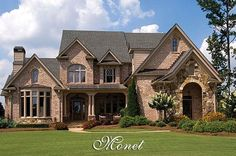 french country curb appeal one story | Luxury French Country House Plan - The Monet