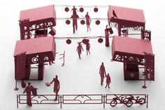 【楽天市場】【メール便発送】 かみの工作所 TERADA MOKEI 1/100建築模型用添景セットNo.51 縁日編1 テラダモケイ:WONNDER3 楽天市場店