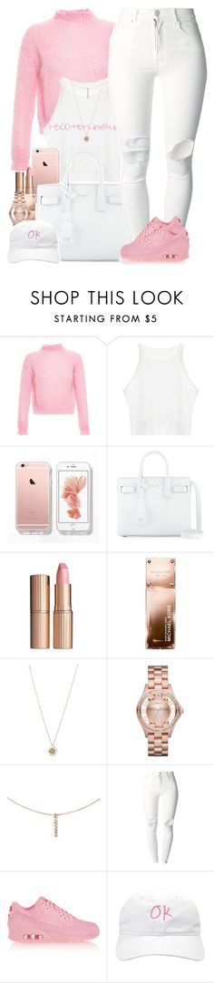 """Pretty Pink"" by oh-aurora ❤ liked on Polyvore featuring Filles à papa, Yves Saint Laurent, Charlotte Tilbury, Michael Kors, ASOS, Marc by Marc Jacobs, Forever 21, (+) PEOPLE and NIKE"
