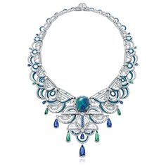 Chow Tai Fook Frank Stella-inspired La Lumiere de L'Infini necklace set with a black opal, diamonds, sapphires and tourmalines.