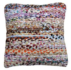 """""""Summer Fields"""" chindi rag rug is made from up cycled materials from the fashion industry. The materials are braided tone in tone and then woven together. The result is this eclectic, multicoloured yet stylish textile - with solid sustainable attributes! Good karma for your home. Visit our webshop www.houseofdhurries.com - also available in carpet."""
