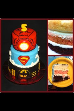 Superheros cake : ironman, superman, batman and spiderman with neapolitan cake layers