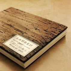 Rustic wood wedding album