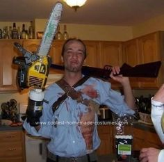 Homemade Ash Costume from Army of Darkness  for daddy scaff. aweomse 80s scaff halloween 2012!