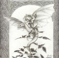 Dragon Rose -pencil by artaddict.deviantart.com on @deviantART