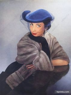 Paulette 1951 Fashion Photography Blue Hat, Veil
