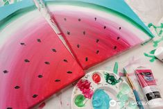 See how great the new line of Deco Art Americana Premium Paints blend together to create a beautiful watermelon canvas art this summer! Small Canvas Paintings, Small Canvas Art, Mini Canvas, Diy Canvas Art, Canvas Ideas, Watermelon Painting, Watermelon Art, Watermelon Carving, Americana Paint
