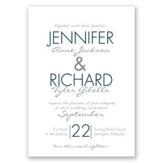 Sophisticated Stripes - Wedding Invitation - Elegant, Two-Tone Stripes at Invitations By David's Bridal