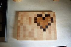 Heart pattern end-grain cutting board by JYoungWoodworking on Etsy