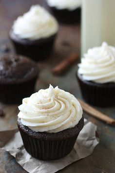 Spiced Chocolate Cupcakes with Eggnog Buttercream | completely delicious