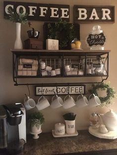 Adorable Latest Diy Coffee Station Ideas In Your Kitchen. diy kitchen decor Latest Diy Coffee Station Ideas In Your Kitchen Coffee Bars In Kitchen, Coffee Bar Home, Home Coffee Stations, Coffe Bar, Office Coffee Station, Coffee Theme Kitchen, Coffee Station Kitchen, Wine And Coffee Bar, Beverage Stations