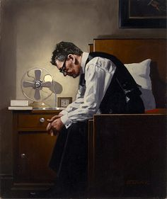 The Weight, a Jack Vettriano self-portrait from 2009. He paints with a gorgeous, almost photo-realistic warmth. I absolutely love his art.