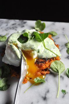 Poached Eggs, sweet potato hash browns and yogurt watercress sauce. Spring inspired breakfast