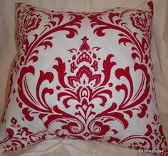 Red Damask Decorative Pillow Cover    *NEW*  Handmade Decorative Pillow 18 x 18 #Handmade #Contemporary