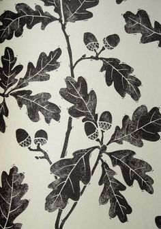 oak, acorn, leaves, pattern, repeat, design, lino, printmaking, print, nature, illustration