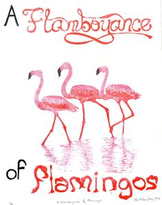 A Flamboyance of Flamingos Linocut by minouette on Etsy