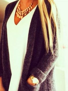 Casual white top and dark grey cardigan
