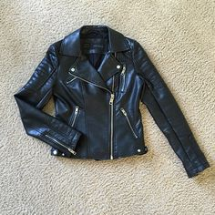 ZARA Faux Leather Jacket Timeless black leather biker jacket. Worn only once and no flaw. I just have too many jackets in this similar style lol Zara Jackets & Coats