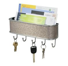 Interdesign Wall Mount Mail and Key Rack,use this for your keys as well as dog leashes!