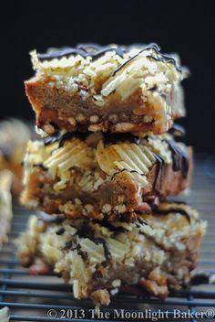 The Bar Snack Blondie    Pretzel Crust, Smoked Almond Blondie Base, Potato Chip Top, Dark Chocolate Drizzle