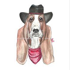 Original Cowboy Basset Hound Art Print from Watercolor Painting, 8 X 10, Dog Art, Children's Decor by wildlifegardener on Etsy