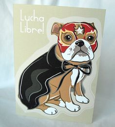Luchador Bulldog Greeting Card by AfricanGrey on Etsy, $5.50