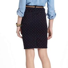 """Pilcro dotted denim skirt Anthropologie pencil skirt """"pilcro and the letterpress"""", 5 pockets, stretch, 73% cotton, 25% polyester, 2% spandex, like new condition worn 2x Anthropologie Skirts"""