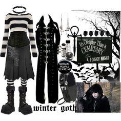 """snow white queen"" by octoburfrost on Polyvore #goth #gothic #emo #dark #spooky #blackandwhite #stripes #gothfashion #platforms #trenchcoat #polyvore"