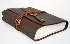 Dark Brown Leather Journal with Antique Skeleton by boundbyhand
