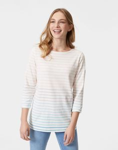 Harbour Cream Ombre Stripe Jersey Top  | Joules UK
