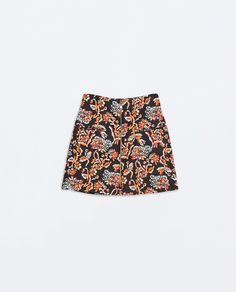 17ab41c76b8 PRINTED SKIRT WITH A FRONT ZIP from Zara