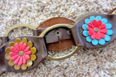 REDUCED Vintage Groovy Leather Linked Flower Floral by QuinlanQ