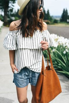 Off the shoulder + striped.