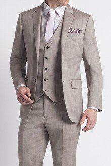 Premium Taupe Twill Three-Piece Suit w/ lavender