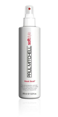 Paul Mitchell Heat Seal- Thermal Protection and Style  guards strands from damage caused by hair starting at the beginning of the styling stage. It provides a light hold and enhance shine. Available at Body and Soul Salon and Spa 6401 Harford Rd. Baltimore, MD. 410.426.8680