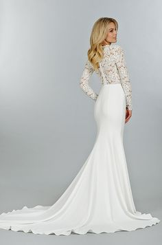 A beautiful wedding dress with illusion lace top. Tara Keely, Fall 2014