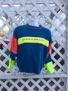 Ocean Pacific mens sweater neon dayglo by 3GenerationCuration