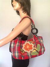 Insira Bag Purse Red Plaid Flowera Embroidery Designer Unique Fashion Hip Hobo