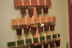 Crochet Advent Calendar, Holiday Crafts, Holiday Decor, Red Paint, Vintage Crafts, Green Trees, Xmas, Rustic, Clothespins