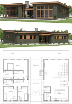 Small House Plan, Small home design - Home & DIY Small Modern House Plans, Small House Design, New House Plans, Dream House Plans, House Floor Plans, Modern Architecture House, Architecture Plan, House Layouts, Building A House