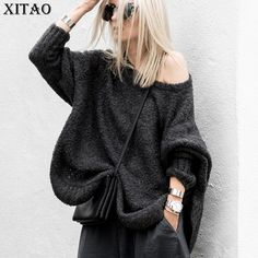 [XITAO] Europe 2017 Autumn New Female Solid Color O-Neck Full Sleeve Pullover Sweaters Women Loose Irregular Sweaters XWW561 #XITAO #sweaters #women_clothing #stylish_sweater #style #fashion