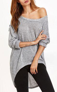 Grey One Shoulder Dip Hem T-shirt. Multi colors available.