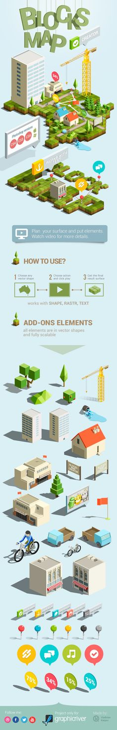 Buy Blocks Map Creator by Vladuha on GraphicRiver. This set of Photoshop actions will help you to easily create a map from any shape. The final result is a surface cons. Web Design, Game Design, Graphic Design, Urban Design, Isometric Art, Isometric Design, Illustrations, Graphic Illustration, Game Art