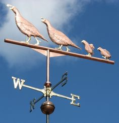 Quail Weathervane Two Parents with Two Chicks by West Coast Weathervanes.