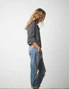 Love a bit of masculine dressing with feminine details like long gorgeous hair. Tomboy chic