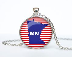 Minnesota map necklace Minnesota map by RainforestNecklaces