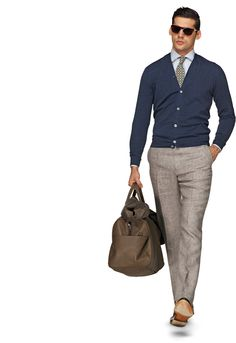 Knits: Sweaters, Cardigans, Crewnecks and more : skinny khaki slacks for the man I love. Love the cardigan sweater,too. Really completes the outfit Gentleman Mode, Gentleman Style, Business Mode, Business Casual, Sharp Dressed Man, Well Dressed Men, Khaki Slacks, Grey Trousers, Looks Style