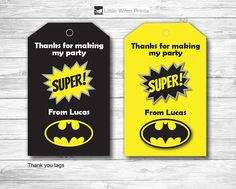 Batman Party Thank you tags, Party Bag Tags, Superhero Party