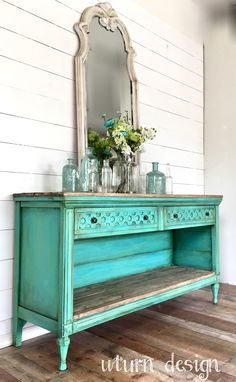 diy home furniture projects Refurbished Furniture, Paint Furniture, Repurposed Furniture, Furniture Projects, Furniture Makeover, Home Furniture, Furniture Design, Aqua Painted Furniture, Painted Buffet